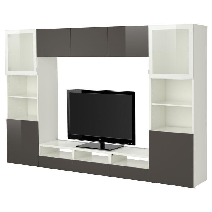 best combinaison rangt tv vitrines blanc tofta brillant gris verre givr ikea id es. Black Bedroom Furniture Sets. Home Design Ideas