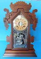 VINTAGE ANSONIA CLOCK HAWTHORN 8 DAY STRIKE MANTLE ALARM 1800'S BOTH KEYS RUNS