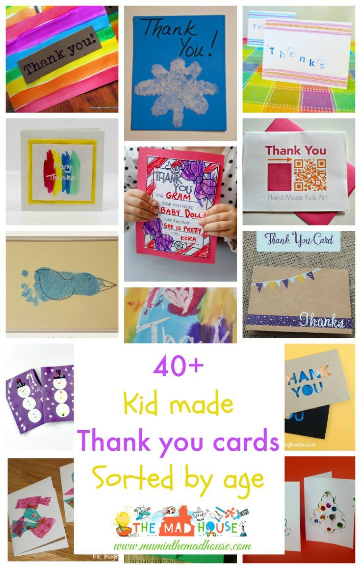 Kid made thank you cards.  there is something for everyone including printables for colouring. Age range from baby through to teens. Everyone loves a thank you card