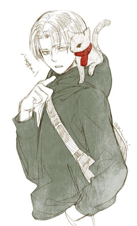 Levi and kitty/Mikasa