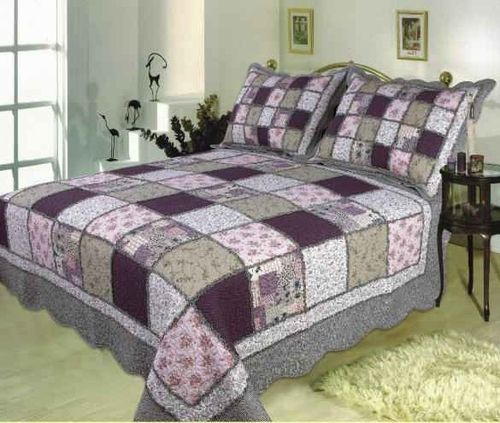 king sized quilt patterns | Home Quilts King Size Sugar Plum handmade quilt with bold patchwork ...