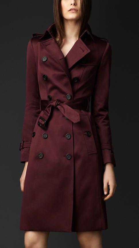Cotton Sateen Trench Coat in Burgandy   Burberry   Fashion- design  inspiration   Burberry, Coat, Fashion d782e0ad87ec
