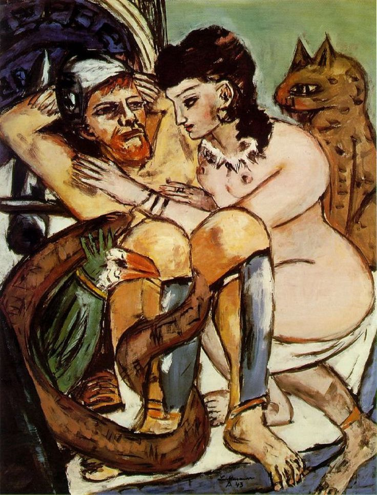 Calypso and Odysseus, Max Beckmann ~I hate it when a guy keeps his greaves on in bed.