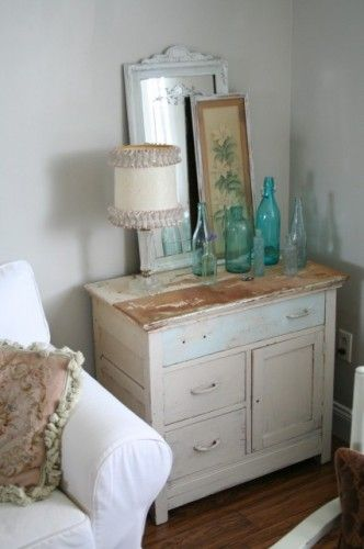weathered look: Paintings Furniture, Shabby Chic Decor, Idea, Dressers, Shabby Chic Design, Eclectic Living Rooms, Chic Living Rooms, Glasses Bottle, Coastal Bedrooms