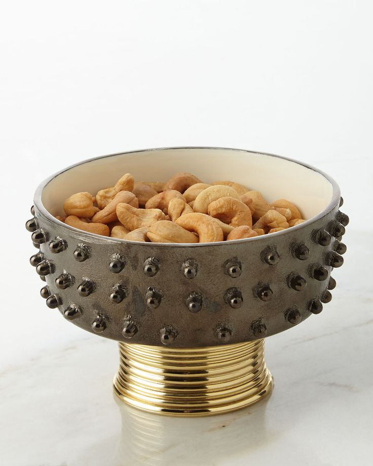 Djembe Wine Caddy/Nut Dish, Black/Gold