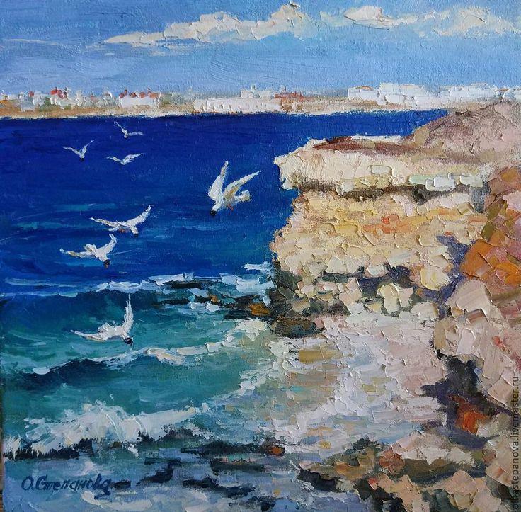 """Купить Картина """"Берег Херсонеса"""", холст, масло. - голубой, солнечный день, картина с морем"""