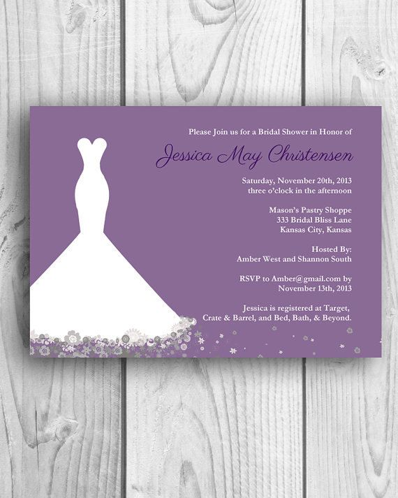 Printable wedding shower invitation wedding dress for Wedding dress bridal shower invitations