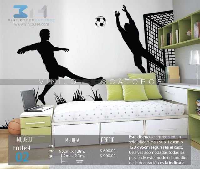 Vinilo 3 14 vinilos decorativos deportivos f tbol for Calcomanias para dormitorios