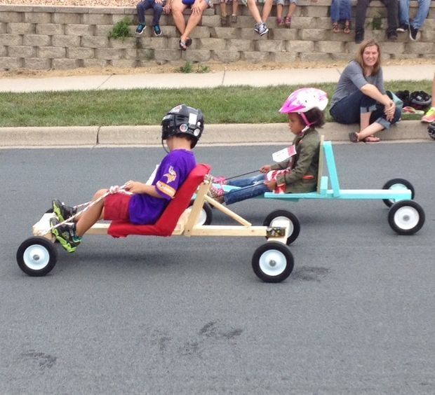 Remembering a time when my son and I built a soap box derby car and as he trembled with fear at the Start Line I was greatly impressed with his ability to go on without a word. Perhaps overtaken by fear but I prefer to think it was character (and it still shows).