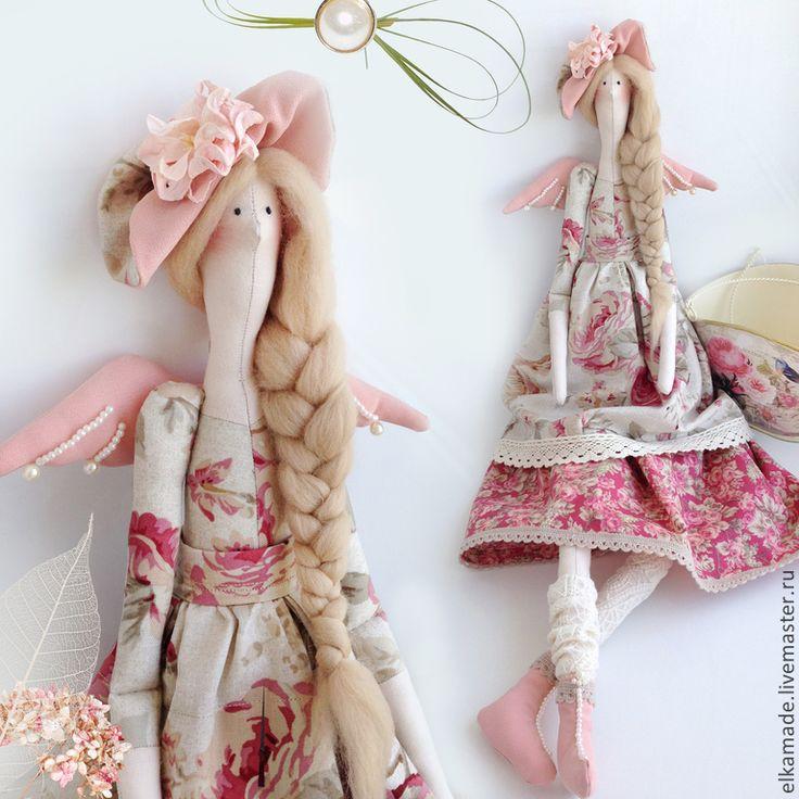 Купить Интерьерная кукла Тильда Клэр в шляпке с цветами - розовый, тильда, ангел, тильда кукла ♡