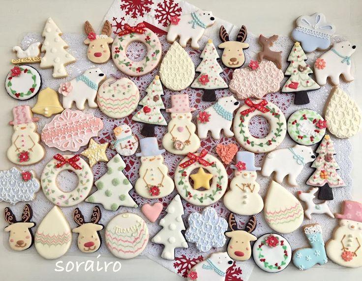 ツリーに飾るクッキーたち勢揃い❤️ ラッピングして毛糸をつけてツリーに飾ります 寂しかったツリーがかわいく変身するのが楽しみ✨✨ #sorairo #そらいろ #大阪 #高槻市 #高槻 #Osaka #アイシングクッキー教室 # #edibleart #cookie #decolation #royalicing #decoratedcookies #クッキー #クリスマスクッキー  #christmascookies #トナカイ #しろくま  #リース #ornaments #bear #snowman #雪だるま#christmastree #クリスマスツリー #オーナメント  #flower #rose #お花絞り#糖霜曲奇 #曲奇
