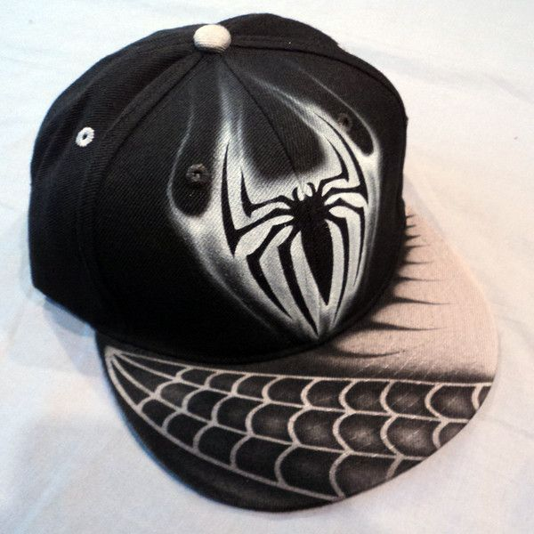 Airbrushed Spiderman Stealth Edition Snapback Hat Hand Painted... (80 BRL) ❤ liked on Polyvore featuring accessories, hats, snap back hats, adjustable hats, waterproof hat, snapback hats and adjustable snapback hats