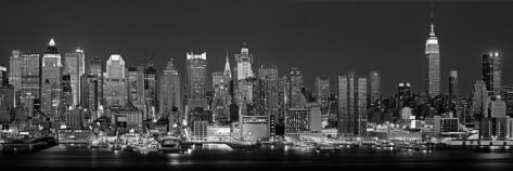 West Side Skyline at Night in Black and White, New York, USA Photographic Print by Panoramic Images at eu.art.com