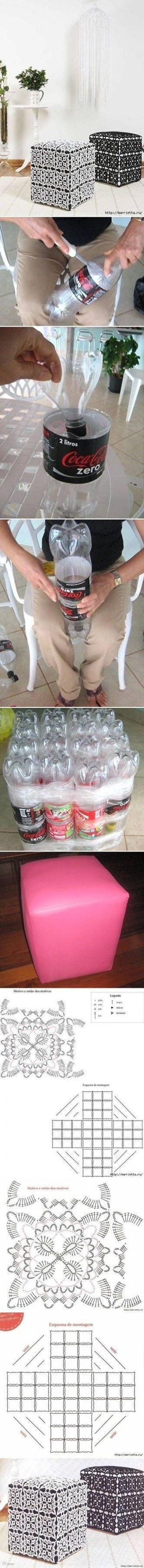 DIY Ottoman Out of Plastic Bottles DIY Projects