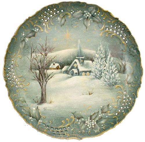 Free instructions from Decoart! Holy Night Plate -- Paint this quiet winter scene on a porcelain or wooden plate