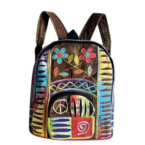 Razor Cut Backpack With Flowers & Peace