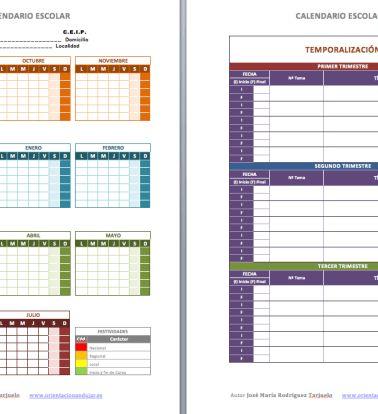 Calendario escolar con temporalizaciones PRIMARIA Y SECUNDARIA editable