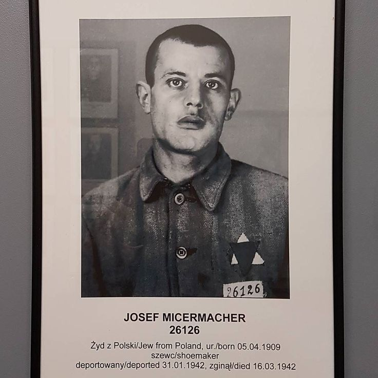 Josef (Herszek) Micermacher. A Polish Jew shoemaker. Born on 5 April 1909. His parents were Mejer and Fajga. His wife's name was Gitla.  Camp no. 26126.  He was registered in German Nazi Auschwitz camp on 30 January 1942. He was deported from a prison in Radom. He perished in the camp on 16 March 1943.