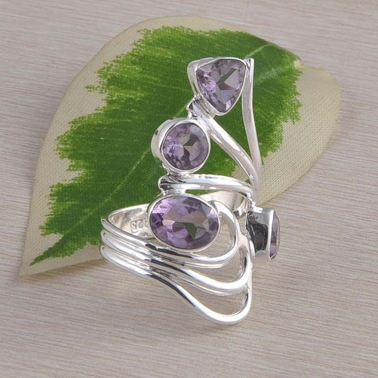 AMETHYST CUT 925 SOLID STERLING SILVER ANTIQUE RING 6.47g DJR2340 S-8 #Handmade #Ring