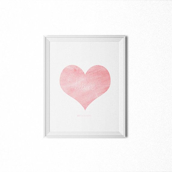 love heart minimalist watercolor blush 8x10 by PROMISEPRINTABLES