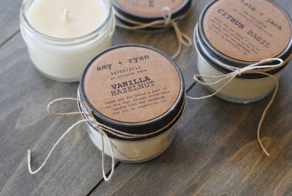 friendly wedding favors, handmade soy candles with personalized labels ...