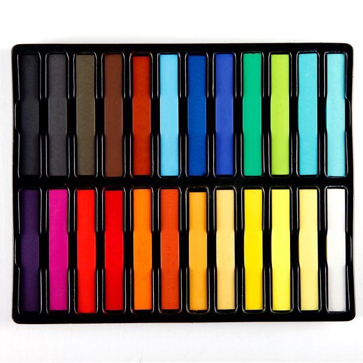 24 Haarverzorging 24 Kleuren Haar Krijt Populaire Tijdelijke Haar Kleur Mooie Handig Super Haarverf Kleurpotloden