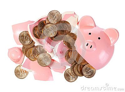 Broken Piggy Bank With Gold Coins Isolated On White. Money - Download From Over 32 Million High Quality Stock Photos, Images, Vectors. Sign up for FREE today. Image: 39576161