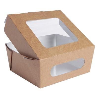 Kartonnen salade en snack dozen met venster - bruine/wit - 1000 ml - per 40 stuks-