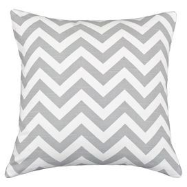 """Cotton pillow with a chevron motif. Made in the USA.    Product: PillowConstruction Material: 100% Cotton cover and hypo-allergenic polyester fillColor: White and ash  Features:  Zippered closureInsert includedMade in the USA Dimensions: 17"""" x 17""""Cleaning and Care: Spot clean"""
