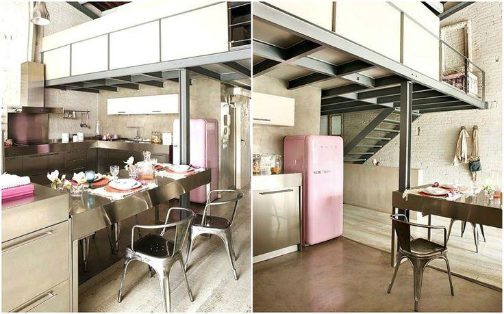 cucina industriale con frigo rosa