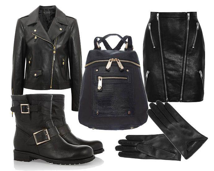 Выбор ELLE: Кожаный жакет Versace, кожаная юбка Saint Laurent, перчатки Gucci, байкерские сапоги Jimmy Choo