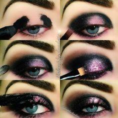 Black and lilac galaxy eye makeup tutorial #evatornadoblog
