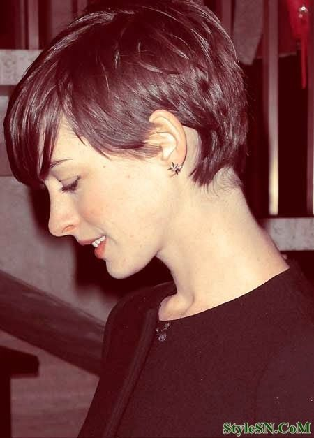 Short Pixie Hairstyle With Long Side Bangs
