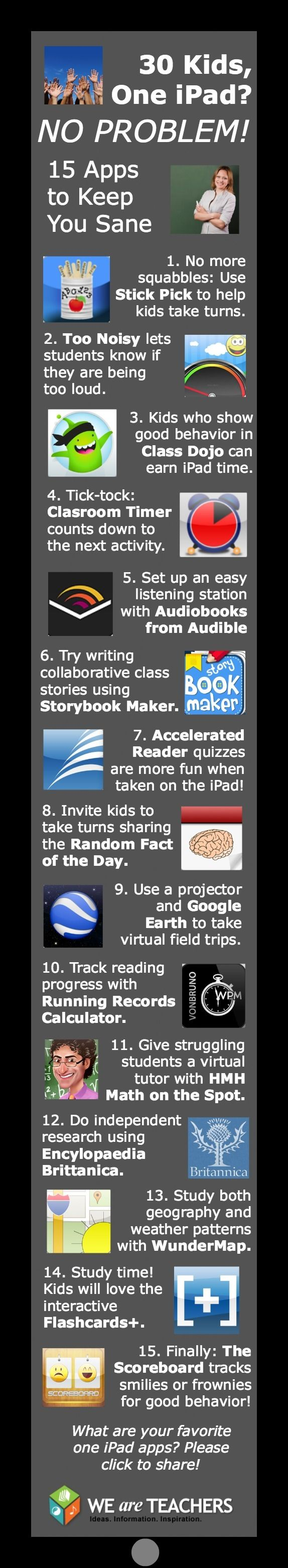 Technology in the classroom: 15 apps that work great with a one iPad setup AND help to keep kids on task and engaged with what you are learning.