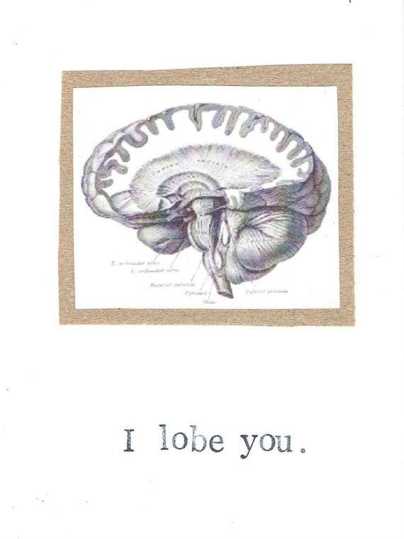 Lóbulo usted tarjeta   Ciencia de anatomía del cerebro divertido retruécano psicología geek nerd Humor médico profesor regalo San Valentín amor para él médico enfermera
