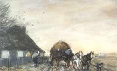 Apol L.F.H., Hooikar met paarden bij een boerenhuisje, aquarel en gouache op papier 11,1 x 17,7 cm.