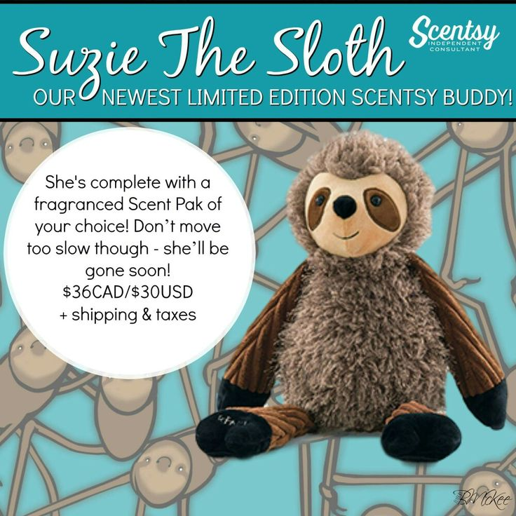 Suzie the Sloth is slowly making her appearance! #scentsy #buddylove  https://ashtaley.scentsy.ca/