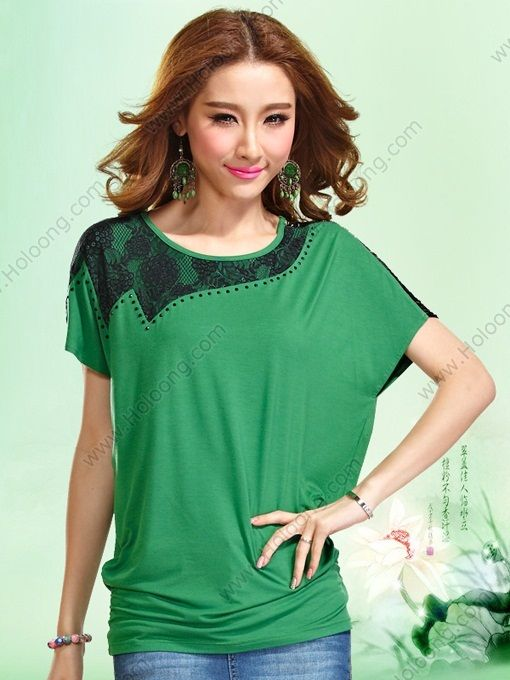Women's Green Batwing sleeve Lace Cutwork Embroidery Loose T-shirt - US $56.00