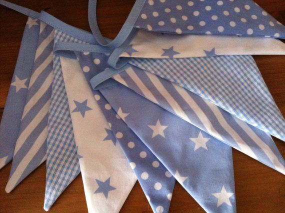 Fabric bunting baby blue and white cotton flags por BelleBunting,