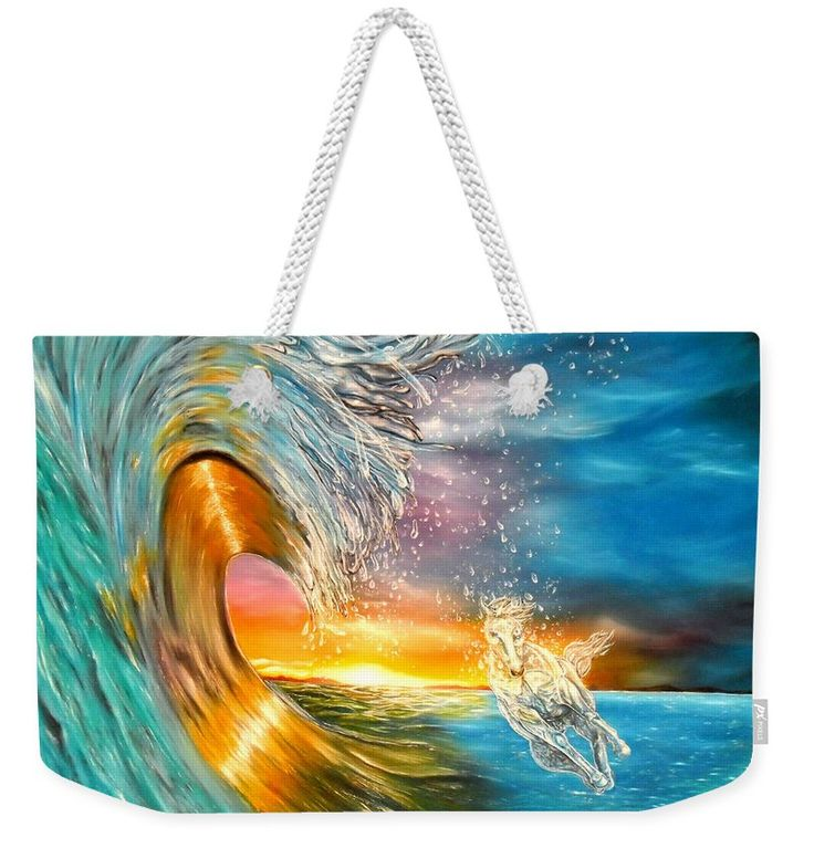 Weekender Tote Bag,  blue,colorful,cool,beautiful,fancy,unique,trendy,artistic,awesome,fahionable,unusual,accessories,for,sale,design,items,products,gifts,presents,ideas,fantasy,waves,horse