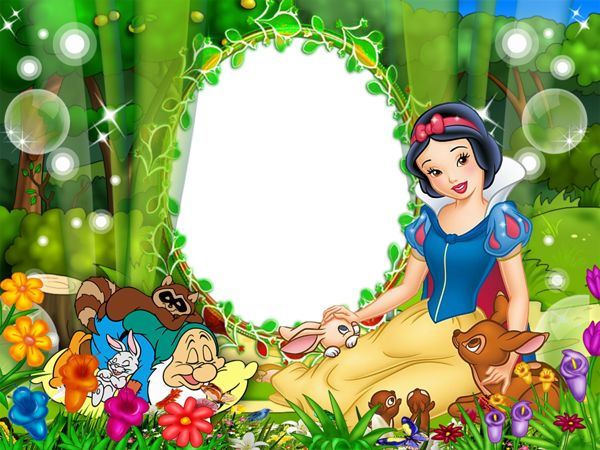 Cute Snow White Kids Transparen PNG Photo Frame