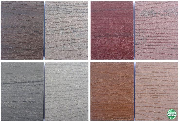 Modwood Composite Decking samples. From L to R Black Bean, Jarrah, Silver Gum and Sahara. (03) 9465 9875 www.greenhilltimbers.com.au