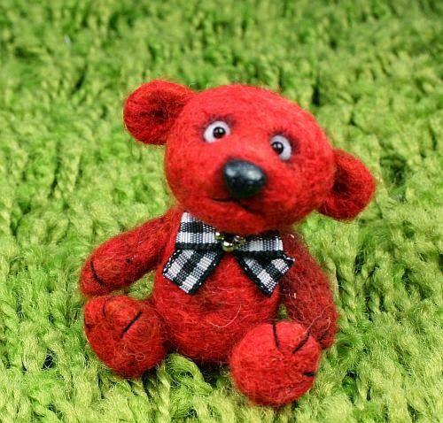 Larris handmade soutache and OOAK: Rotti mini teddy needle felted OOAK