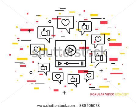 Online video player line vector illustration. Like, heart, dialog box, media…