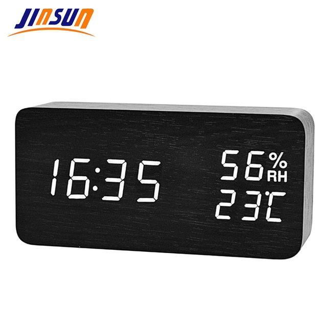 Jinsun Modern Led Alarm Clock Despertador Temperature Humidity