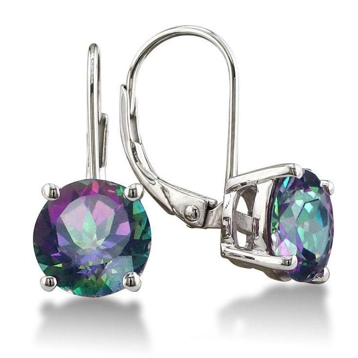 Sterling Silver 3 1/2ct Mystic Topaz Leverback Earrings (Rainbow Amethyst Earrings), Women's, Size: Small, Purple