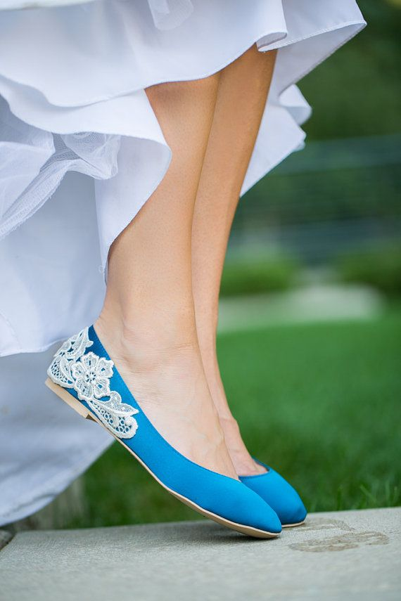 Wedding Flats  Teal Blue Wedding Shoes/Ballet Flats by walkinonair, $67.00