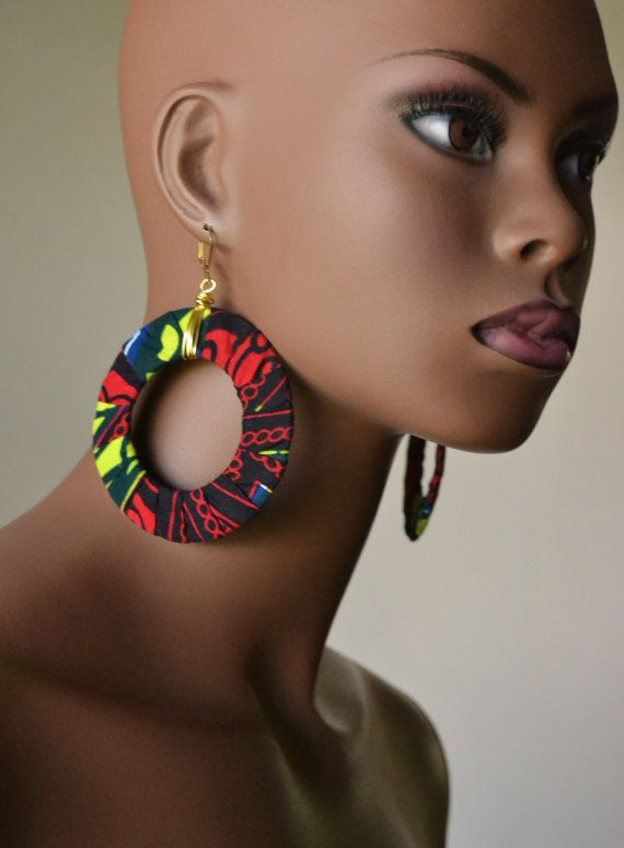 African Fabric Earring and Bangle Set by MarcieRoxx on Etsy, $28.00