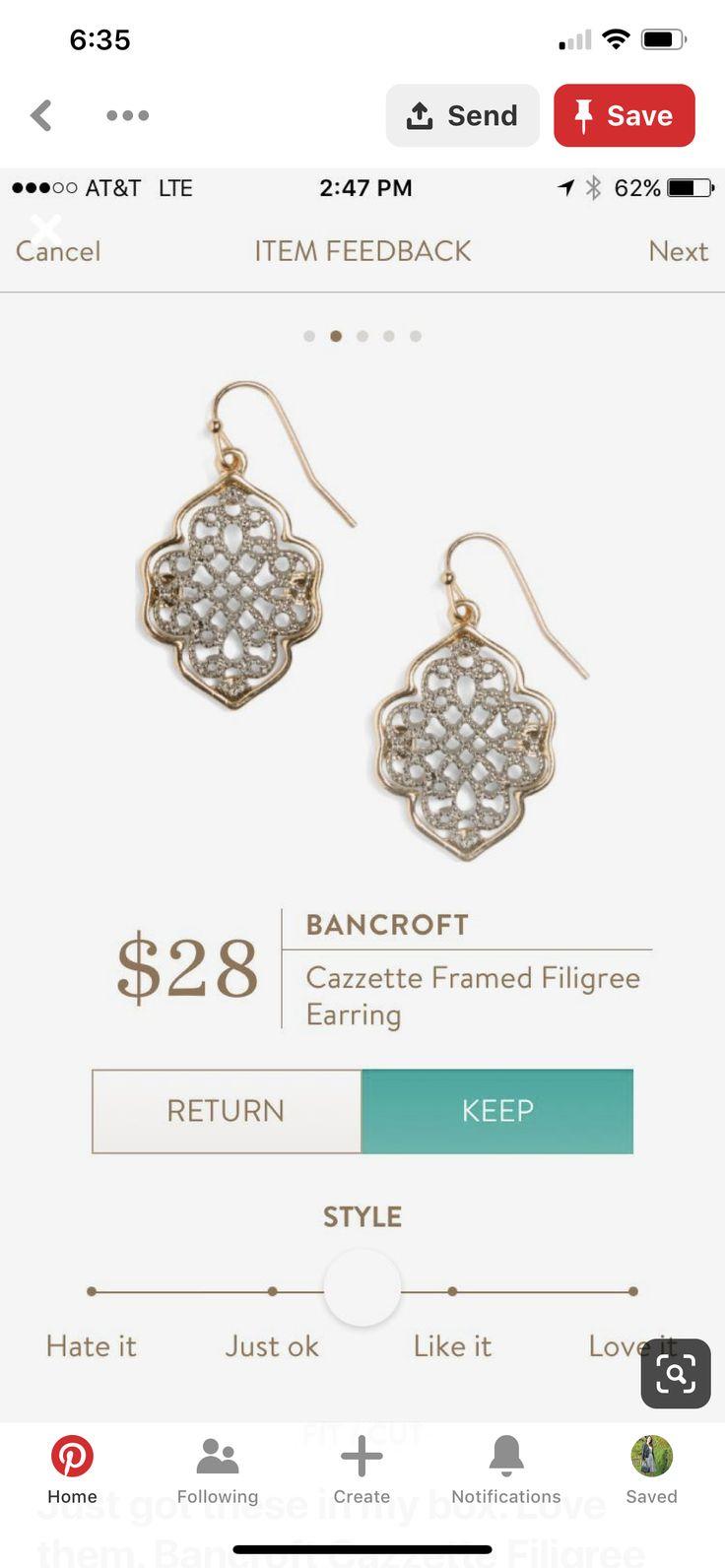 Stitch Fix jewelry and accessories   Stitch Fix Bancroft Cazzette Framed Filigree Earrings