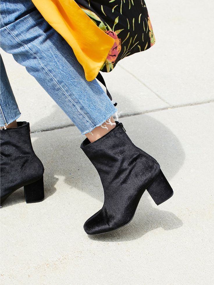 FP Collection Black Velvet Cecile Ankle Boot at Free People Clothing Boutique